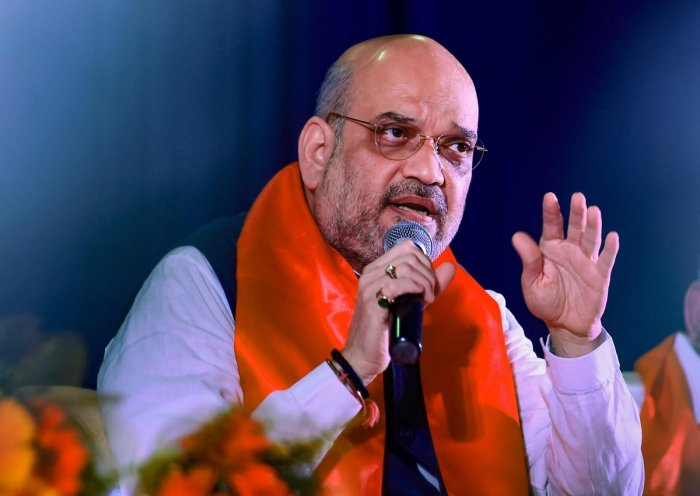 BJP National President Amit Shah speaks during an interactive meeting with the professionals & entrepreneurs in Bengaluru on Thursday. PTI