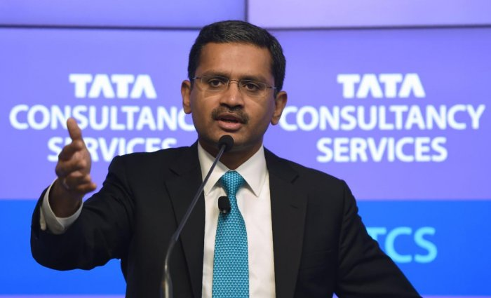 India's Tata Consultancy Services (TCS) CEO and Managing Director Rajesh Gopinathan speaks during a news conference after the announcement of the financial results of the company in Mumbai on April 19, 2018. AFP