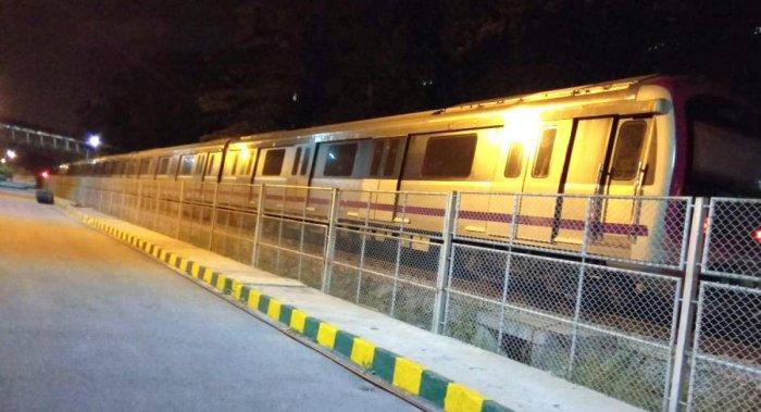 The six-car Metro train undergoing trials at Baiyappanahalli