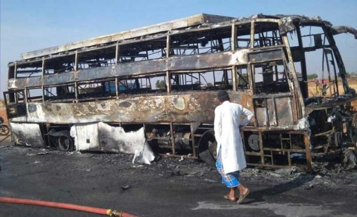 he bus was heading to Vijayapura from Bengaluru when the incident occurred at Gunnal cross, Yelaburga taluk, in Koppal district. DH photo.