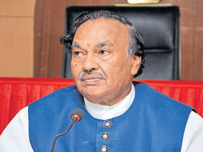 Opposition leader in the Legislative Council K S Eshwarappa