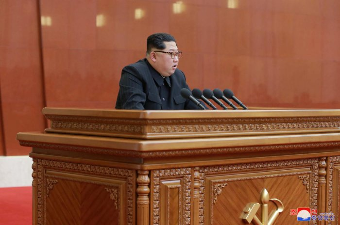 North Korean leader Kim Jong Un speaks during the Third Plenary Meeting of the Seventh Central Committee of the Workers' Party of Korea (WPK), in this photo released by North Korea's Korean Central News Agency (KCNA) in Pyongyang on April 20, 2018. Reuters.