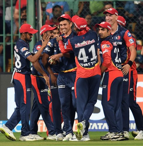 Trent Boult (centre) is congratulated by his Delhi Daredevils' team-mates after taking a stunning catch to dismiss Virat Kohli. DH Photo