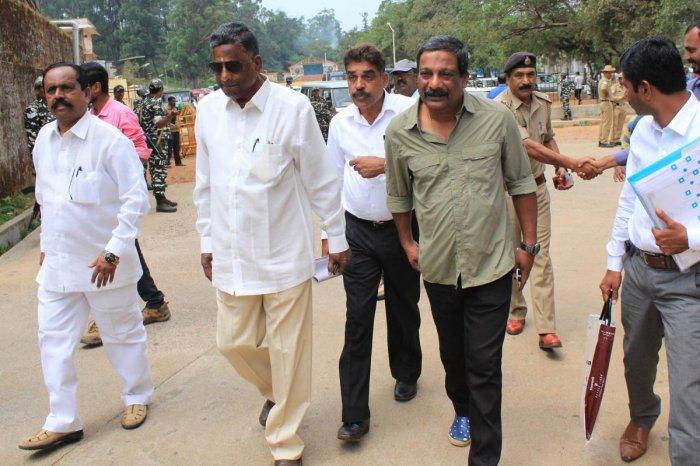 JD(S) candidate from Madikeri B A Jeevijaya arrives for filing nomination at Madikeri on Monday.
