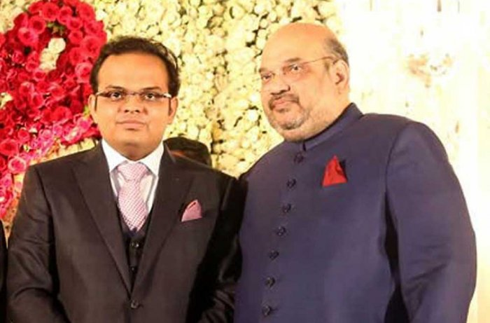 Jay Shah with BJP president Amit Shah. Image Courtesy: Twitter