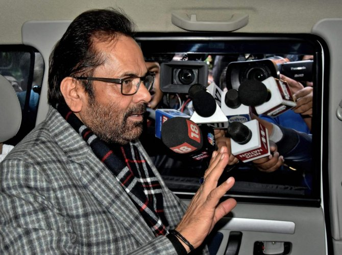 Union minister Mukhtar Abbas Naqvi said the Congress always wore mask of secularism but practised communalism. PTI file photo
