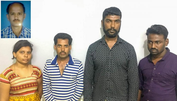 The four accused arrested in the murder of the cooperative bank secretary Murugesh in Attibele on April 13. From left, Rekha (27), Putta Basappa (26), both residents of Jigani Hobli in Anekal taluk, Saktivel (27), a resident of Garvebhavipalya and Manikan