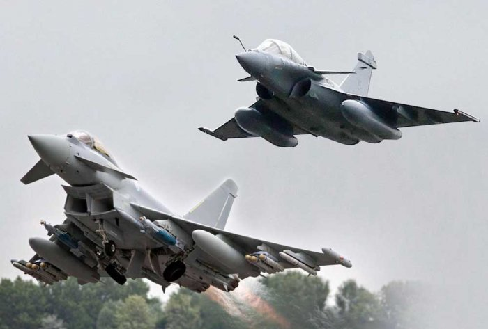 Combo picture of Dassault Rafale (top) and Airbus' Eurofighter Typhoon
