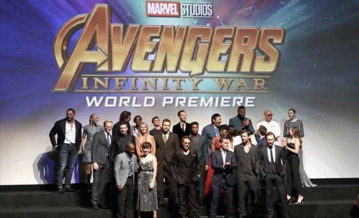 The cast of Avengers Infinity War at last night's world premiere. Photo via Marvel Studios Twitter.