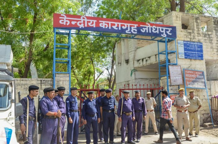 Security force deployed outside Jodhpur Central Jail ahead of the court's verdict on Asaram's sexual assault case, on Tuesday. (PTI Photo)
