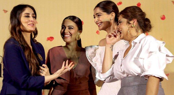 Bollywood actors (L-R) Kareena Kapoor, Swara Bhasker, Sonam Kapoor and Shikha Talsania during a trailer launch of their upcoming film 'Veere Di Wedding' in Mumbai. PTI Photo