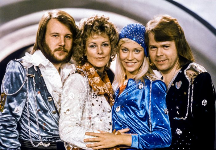 """Swedish pop group Abba: Benny Andersson, Anni-Frid Lyngstad, Agnetha Faltskog and Bjorn Ulvaeus pose after winning the Swedish branch of the Eurovision Song Contest with their song """"Waterloo"""", February 9, 1974. Picture taken February 9, 1974. Olle Lindebo"""