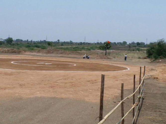 A makeshift helipad for the landing of BJP president Amit Shah's chopper built on Uchanuru Road on the outskirts of Ilkal in Bagalkot district.