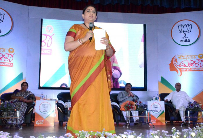 Union Minister for Information, Broadcasting and Textiles Smriti Irani speaksa at an interaction programme with women in Belagavi on Saturday. dh photo
