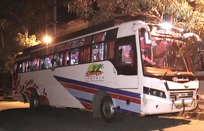 The Lama Travels bus bound to Kannur from Bengaluru that was hijacked by recovery agents of a finance firm along with passengers on Friday night.