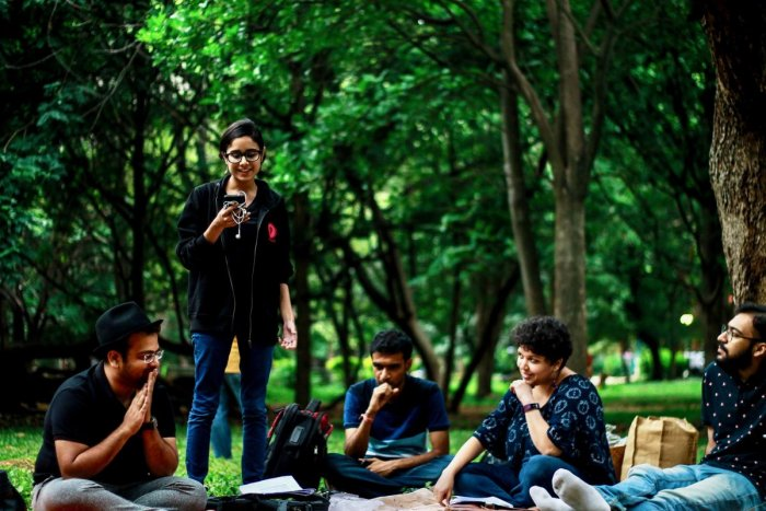 Many like Lynessa Coutto (second from right) enjoy being a part of poetry sessions in the open.