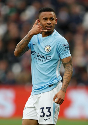 UNSTOPPABLE Manchester City's Gabriel Jesus celebrates after scoring against West Ham on Sunday. REUTERS