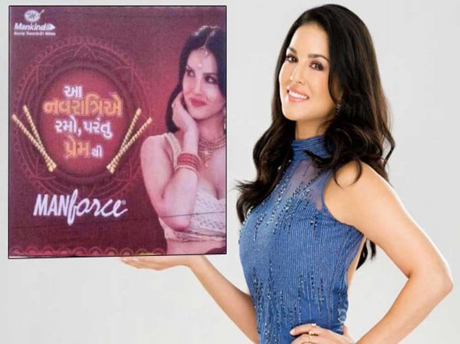 In picture: A still from actress Sunny Leone's condom advertisement. Photo via Twitter.