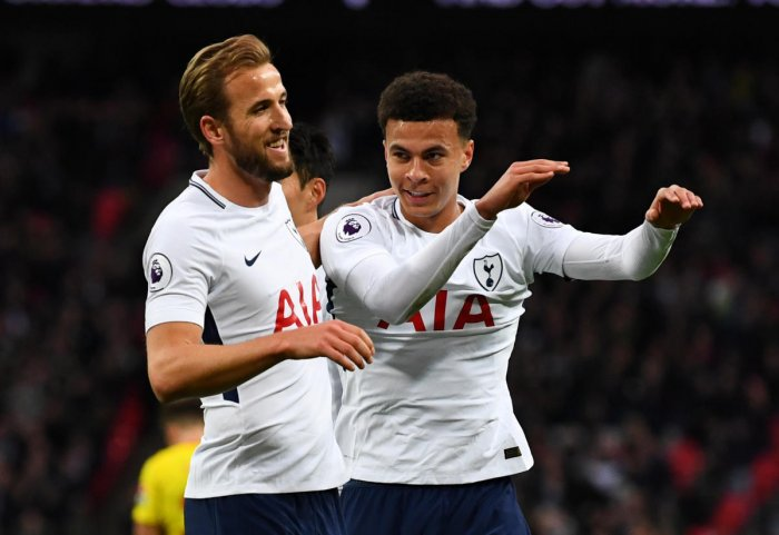 Tottenham Hotspur's Dele Alli (right) celebrates after scoring their first goal against Watford with Harry Kane, who netted the second goal, at Wembley on Monday. Reuters
