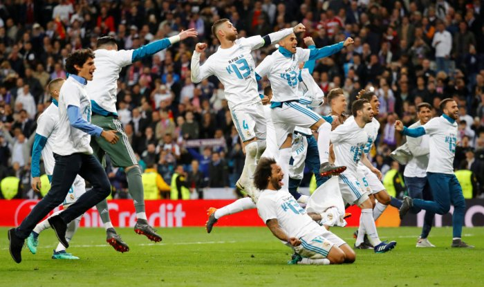 Real Madrid players celebrate after the second leg of their Champions League semi-final against Bayern Munich. (Reuters photo)