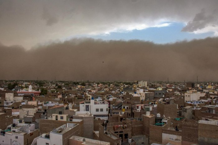 A dust storm approaches the city of Bikaner. PTI photo.