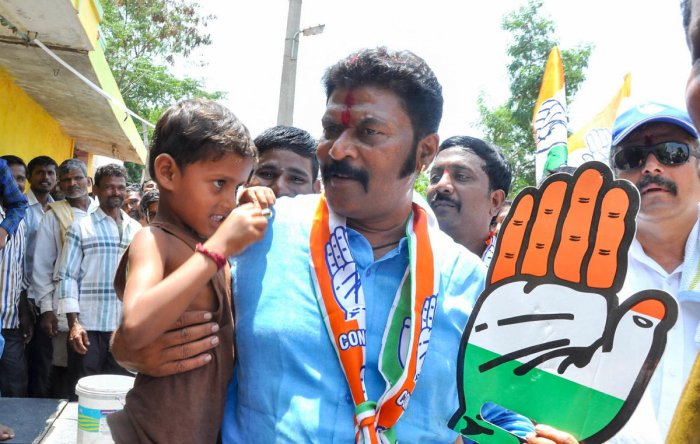 Ballari District, Vijayanagara constituency Congress Candidate Anand singh seen during the campaigning.