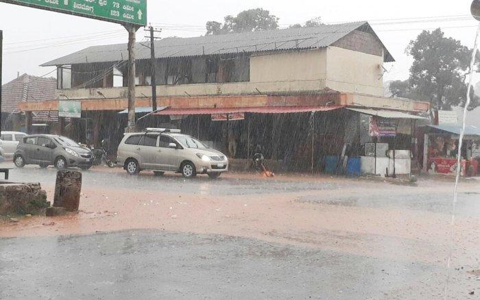 Heavy rain lashed Mudigere on Thursday.