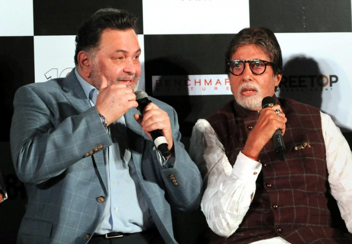 Bollywood actors Amitabh Bachchan and Rishi Kapoor at the song launch of film '102 Not Out' at Juhu in Mumbai on Thursday. PTI Photo