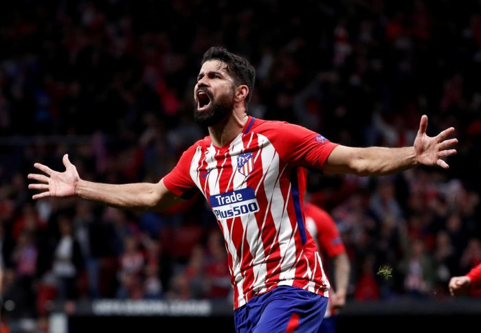 Atletico Madrid's Diego Costa celebrates after scoring their first goal against Arsenal in the Europa League second-leg semifinal on Thursday. Reuters