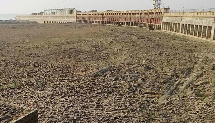 A file photo of near dry KRS dam in Srirangapatna taluk of Mandya district. DH Photo0