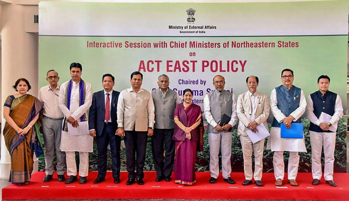 Union External Affairs Minister Sushma Swaraj along with Union Minister of State for Development of North Eastern Region (DoNER) Dr Jitendra Singh with the chief minister of Northeastern States after an interactive session with them on 'Act East Policy' in New Delhi on Friday. PTI