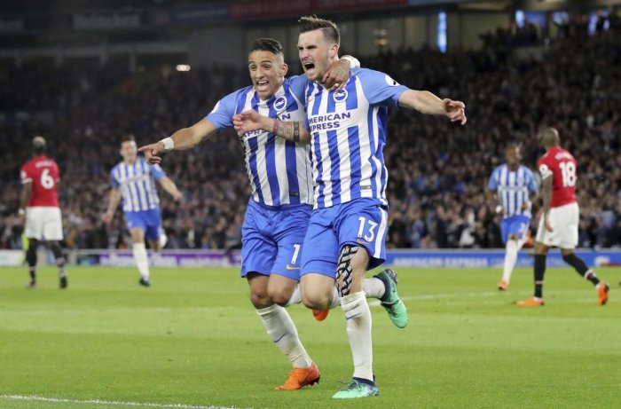 On seventh heaven: Brighton & Hove Albion's Pascal Gross (right) celebrates with team-mate Anthony Knockaert after scoring against Manchester United on Saturday. AP-PTI