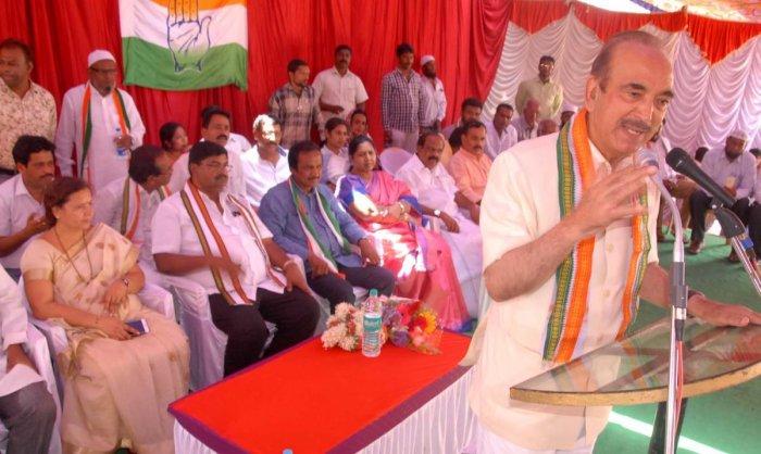 Leader of the Opposition in Rajya Sabha Ghulam Nabi Azad speaks at a public rally in Chikkamagaluru on Saturday.