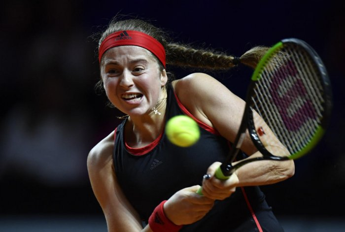 Jelena Ostapenko suffered a shock first-round defeat at Madrid on Saturday.
