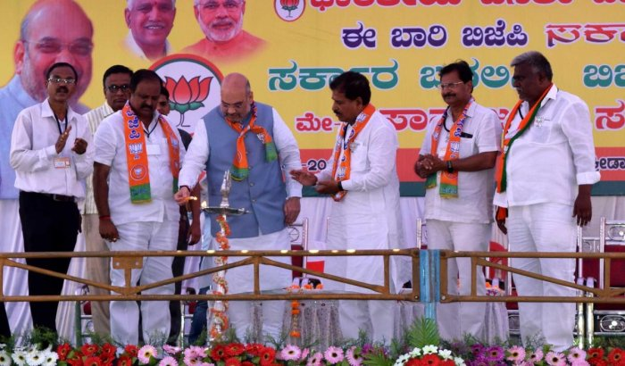 BJP Chief Amit Shah inaugurating a public rally at Saundatti town in Belagavi district on Sunday.