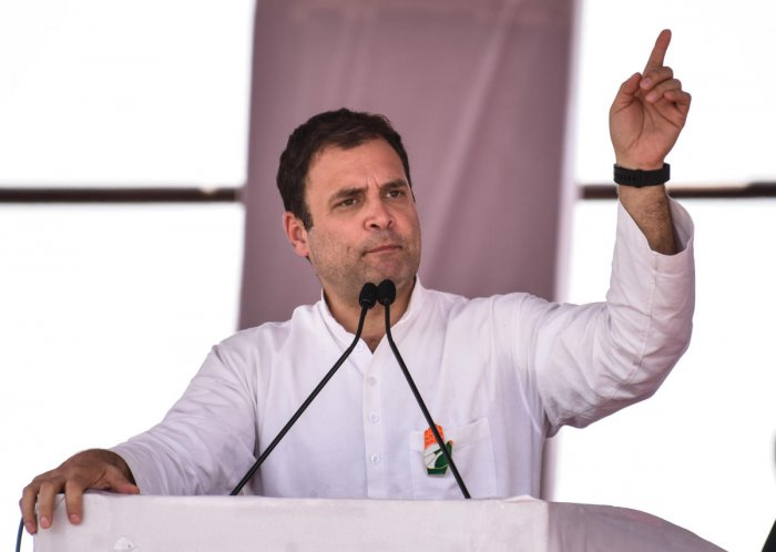 AICC President Rahul Gandhi gestures during public meeting. DH Photo/Prashanth HG