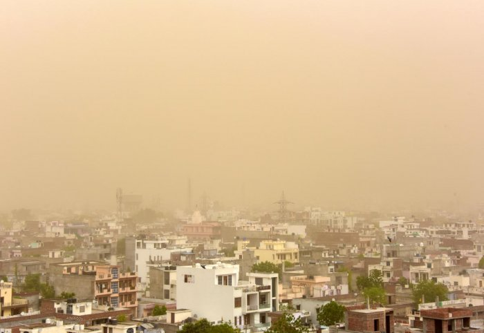 An aerial view of the dust covered sky in Jaipur, Rajasthan, on Monday. REUTERS