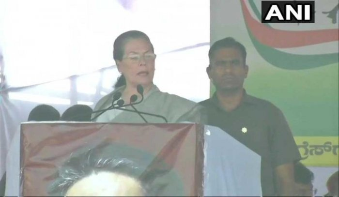 Holding her first election rally in two years, UPA chairperson president Sonia Gandhi today accused the Modi government of discriminating against Congress-ruled Karnataka, and questioned his slogan of 'sabka saath, sabka vikas'. Picture courtesy ANI