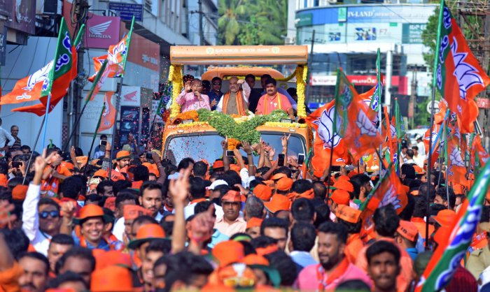 BJP national president Amit Shah held a roadshow in Mangaluru on Tuesday.