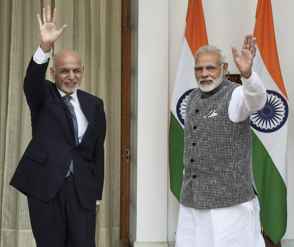 Prime Minister Narendra Modi and the President of the Islamic Republic of Afghanistan, Mohammad Ashraf Ghani
