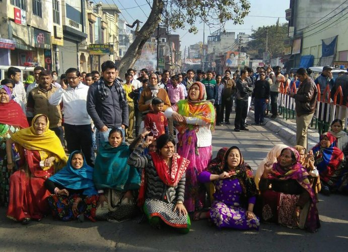 Women during a protest in UP's Saharanpur. PTI/ File photo