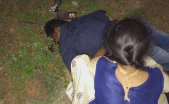 Sarswathi (partially seen) and Rao on the day of the murder. TV grab