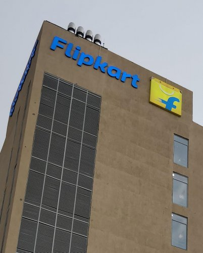 This photo taken on May 8, 2018 shows the logo of ecommerce company Flipkart at its headquarters in Bengaluru. AFP