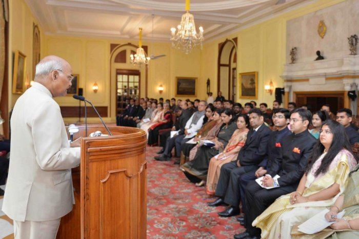 President Ram Nath Kovind addresses the 41 Officer Trainees of Class-I Accounts & Finance Service, attending 25th Professional Training Course at National Institute of Finance Management (NIFM), at Rashtrapati Bhavan in New Delhi on Wednesday. PTI Pho