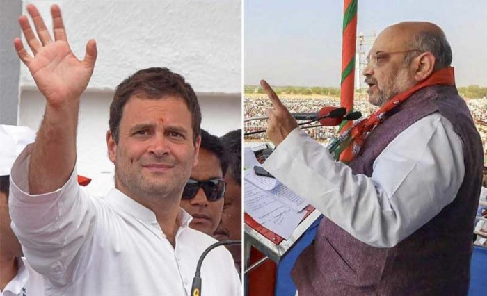 Rahul Gandhi and Amit Shah during the election campaign in Karnataka