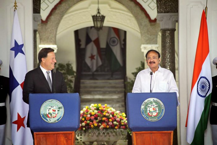 Vice President M Venkaiah Naidu with President of Panama, Juan Carlos Varela Rodriguez, at their joint press conference in Panama City on Wednesday. PTI Photo