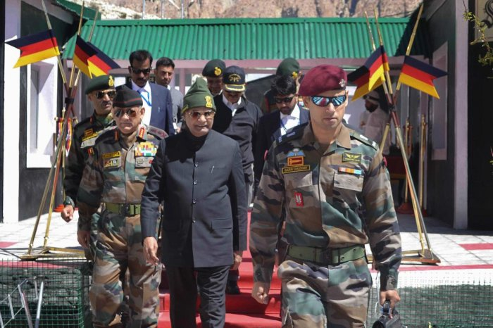 President Ram Nath Kovind arrives to address the soldiers at Siachen Base Camp on Thursday. PTI Photo