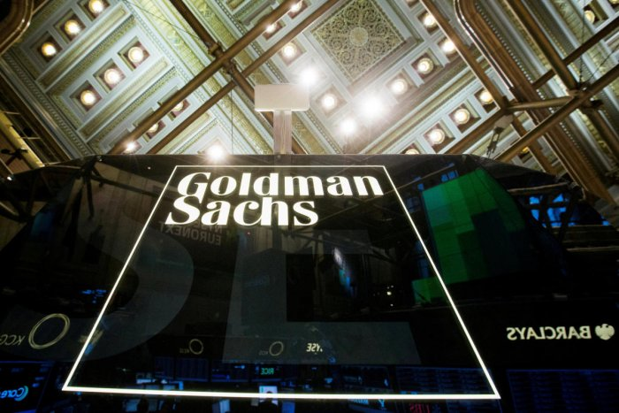 A Goldman Sachs sign is seen above the floor of the New York Stock Exchange shortly after the opening bell in the Manhattan borough of New York. Reuters Photo
