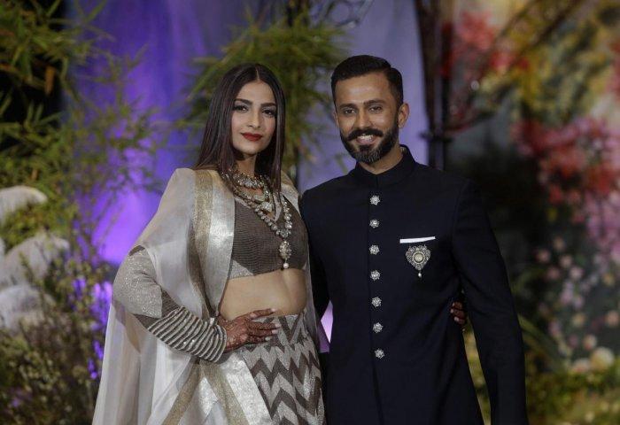 Bollywood actress Sonam Kapoor with husband Anand Ahuja. PTI Photo