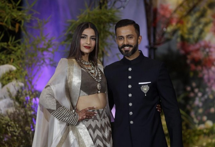 Bollywood actress Sonam Kapoor with husband Anand Ahuja. PTI Photo